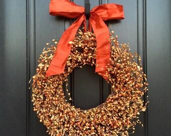 """20"""" Fall Berry Wreath, Pumpkin Orange Berry Wreath for Fall, Pumpkin Pie Berry Wreath, Orange Bow for Fall, Orange Pip Berries"""