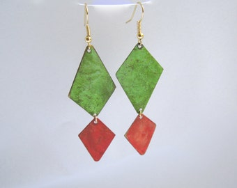 Patina Earrings over Brass