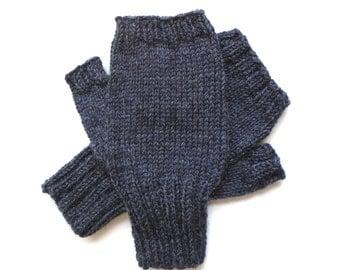 Texting Gloves for Men, Teen Boys, Handknit Fingerless Gloves, Hand Warmers, gift for men, wool gloves, knit gloves, charcoal gray, size M/L
