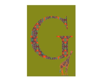 G is for Giraffe Alphabet Animal Art Print // Nursery Art School Classroom Education Baby Shower Gift // 13x19, 8.5x11, or 5x7