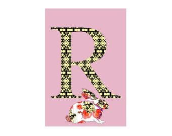 R is for Rabbit Alphabet Animal Art Print // Nursery Art School Classroom Education Baby Shower Gift // 13x19, 8.5x11, or 5x7