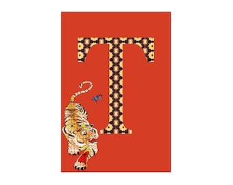 T is for Tiger Alphabet Animal Art Print // Nursery Art School Classroom Education Baby Shower Gift // 13x19, 8.5x11, or 5x7