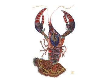 crawfish//lobster //mardi gras// Art Print//New Orleans// Louisiana// restaurant 13 x 19, 11 x 14, 8.5 x 11, 8 x 10, 5 x 7
