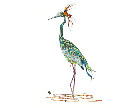 Crane Open Edition Fine Art Print from Original // Blue Green // Colorful // Patterned // Bird // Animal // Stork 13x19 or 8.5x11