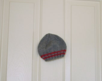 Hand Knitted - Baby Hat in Grey with Burgundy Stripes