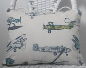 Vintage Air Lumbar Pillow Cover in Blue, Green, Natural Pillow Boys Room Pillow Den Pillow 5 sizes