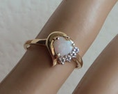 Wonderful Vintage Natural Opal and Diamond Ring, solid 10K yellow gold, size 7, free US shipping