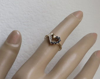 Romantic Blue Sapphire and Diamond Heart Ring in solid 10K yellow gold, size 6, free US first class shipping on vintage