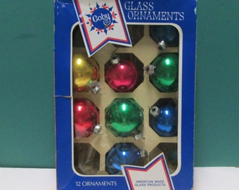 Vintage 8 Mercury Glass Ball 8 Christmas Tree Ornaments Blue Red Gold Rauch Coby  Box Mid Century Industrial Tree Trim 50s Glass Ball lot