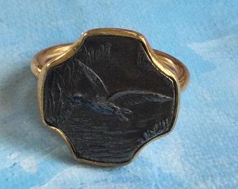 Vintage Flying Egret Brass Ring