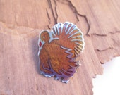 Vintage Silver and Enamel Turkey Brooch Pin Made In Mexico Silver