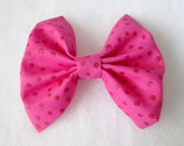 Pink Glitter Polka Dot Patterned Fabric Hair Bow