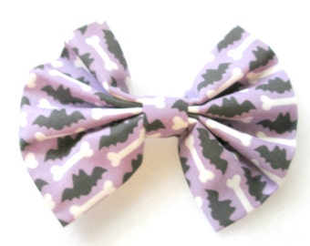 Halloween Bats and Bones Patterned Fabric Bow