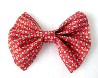 Christmas Trees and Snowflakes Patterned Fabric Hair Bow