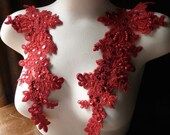 RED Beaded Lace Applique Pair for Lyrical Dance, Bridal, Headbands, Sashes, Costume Design PR 96red