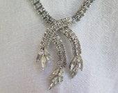 Vintage Rhinestone Necklace with Leaf Tassels