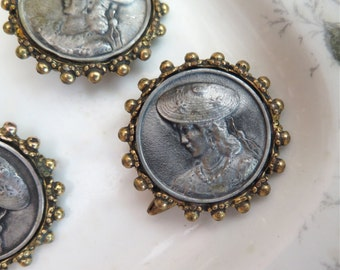 Vintage Lady Buttons Silver Metal and Brass Set of Three