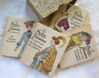 La Mode Feminine Fashion Plate Cards 1990-1920 Boxed Set of 80 Small Cards