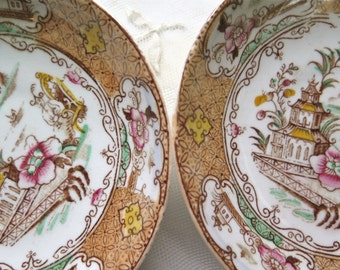 Antique Brown Transferware/ Lustrware Saucers Set of 2 Polychrome Asian Motif Lustre Finish 19th Century
