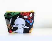 mini zipper pouch coin pouch knitting notions pouch mini knitting bag zippered bag - SUPER HEROS - ready to ship