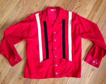 1950's Rockabilly Red Corduroy Buttondown Jacket M