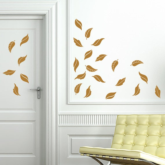Fancy fall leaves autumn decor door decals for fall for Autumn window decoration