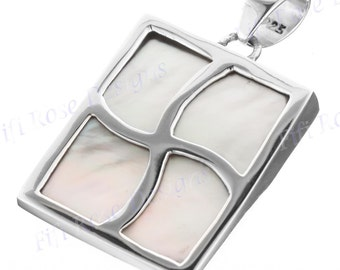 """1 1/8"""" White Mother Of Pearl Shell Window 925 Sterling Silver Pendant"""