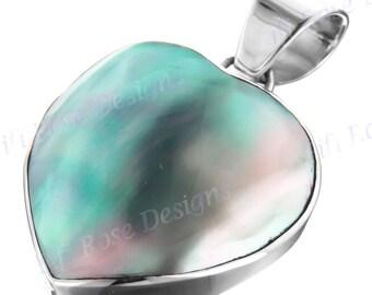 "1 7/16"" Blue Abalone Shell Heart 925 Sterling Silver Pendant"