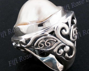 Adorable Blister Pearl 925 Sterling Silver Sz 7 Ring