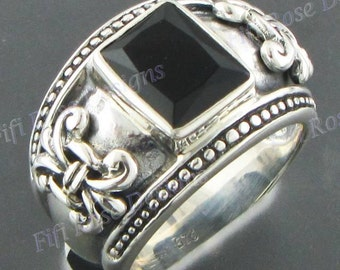 Adorable Square Onyx 925 Sterling Silver Sz 7.5 Ring