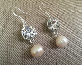 Diamond and Real Pearl Earrings, Party Fun Accessories, Wedding Party Jewelry, Bridesmaids Accessories