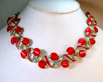 Red Cherries Thermoset Choker, Rainbow Aurora Borealis Rhinestones, Red Enamel on Silver Links,  Adjustable Chain Necklace, 1950s,