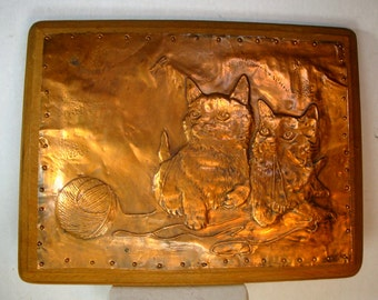 Copper Kitten Plaque, 1960s 2 Kittie Baby Cats and a Ball of Yarn, Handcrafted Repousee in Copper. Nailed to Wood Wall Hanging, Handmade