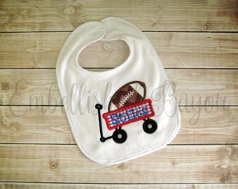Personalized Applique Football Wagon Bib for Baby or Toddler, Choose Your Team
