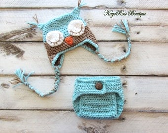 Newborn Baby Crochet Sleepy Owl Hat and Diaper Cover Set Teal and Brown