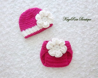 Newborn to 3 Month Old Baby Girl Crochet Flower Hat and Diaper Cover Set Pink and White Stripe