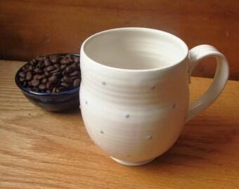 Handmade Stoneware Mug with Blue Polka Dots