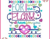 I Know the Plans JEREMIAH 29:11 Tribal Arrows Word Art Applique 4x4 5x7 6x10