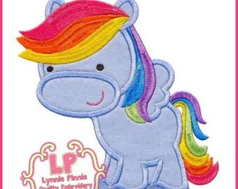 Rainbow Pegasus Pony 2 Applique 4x4 5x7 6x10 7x11 SVG Machine Embroidery Design