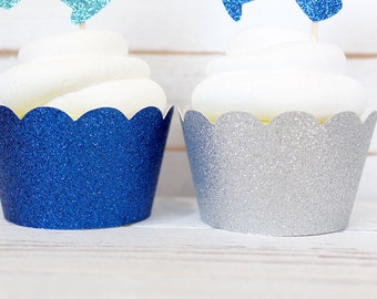 Glitter Scalloped Cupcake Wrappers - Set of 6