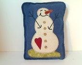 Primitive Wool Snowman Pillow | Appliqued Snowman | Holidays | Winter Decor | Handmade | Primitive Folk Art | Rustic Country Decor |  #2