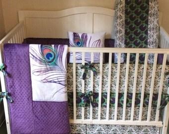 DEPOSIT Custom Peacock Designer Made to Order Crib Set You Design