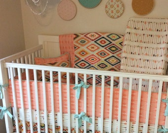 DEPOSIT Baby Girl Crib Bedding Peach and Mint Tribal Arrows