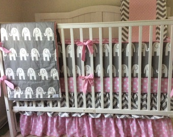 Crib Bedding Pink and Gray Elephant