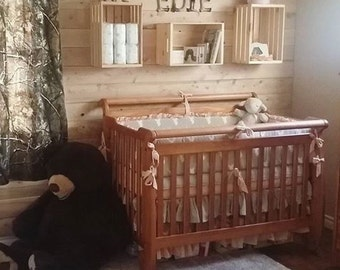 DEPOSIT Crib Bedding Stag in Peach and Khaki with Washed Linen