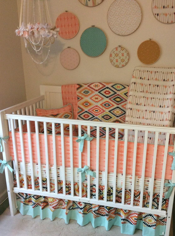 Deposit Baby Girl Crib Bedding Peach And Mint Tribal Arrows
