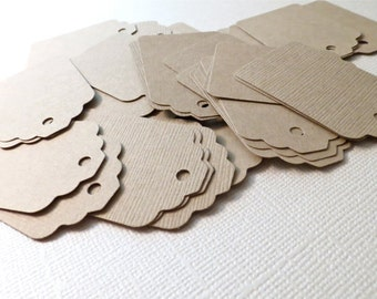Rustic Light Brown Card Stock Gift Tags, Wedding Favor Tags, Scrapbooking Tags, Embellishments : hand punched tags with hole - 50 qty