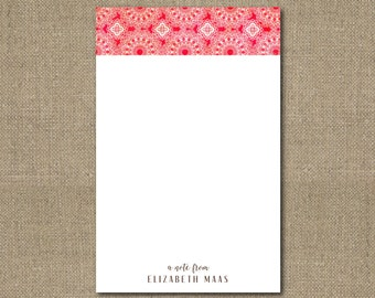 "Personalized Red Floral Lace Medallions 5.5"" x 8.5"" Notepad Teacher Gift Coworker Gift or Office Supply"