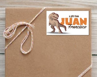 Set of 25 Personalized T-Rex Dinosaur Enclosure Cards Contact Cards Calling Cards or Gift Tags