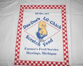 muslin,chicken fabric, feed sack fabric, screen print, feed sack pillow fabric, make your own, supplies, fabric, bunny feed sack, bag